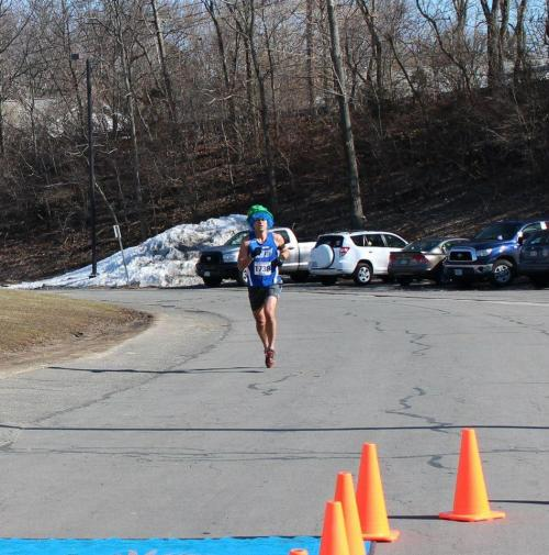 Coming in to the finish line at the Inaugural Leprechaun 5K - 20:20 (8th overall, 3rd in AG, 1st in LHR - Leprechaun Hat Runners)