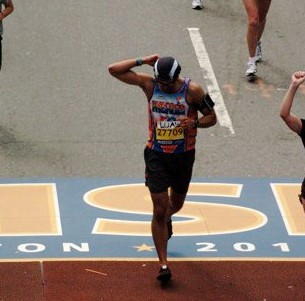...oh! and DO remember to look up at the camera when you cross the finish line!  (my first Boston - 2010, 3:32, a 22 minute PR)